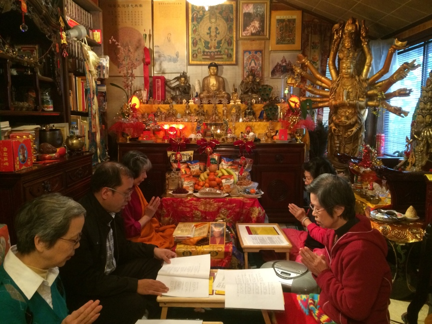 Chanting during Guru Rinpoche Tsok