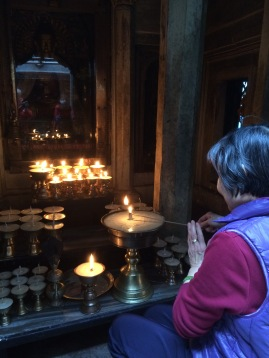 Lighting Butter Lamps at 10K stupa